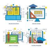 Programa do conceito naturalmente, educação em linha, de volta à escola ilustração stock