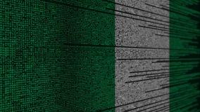 Programa kod i flaga Nigeria Nigeryjski technologii cyfrowej lub programowania powiązany 3D rendering ilustracja wektor