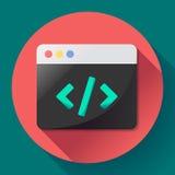Programa liso app do vetor do ícone da codificação Fotos de Stock