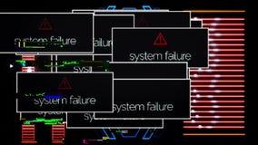 Programa no tela de computador interrompido pela mensagem da falha de sistema, conceito digital da seguran?a animation sinal ilustração do vetor