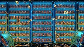Programa para processar Cryptocurrency de mineração em uma exploração agrícola das placas de vídeo do PC vídeos de arquivo