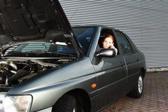 Programa piloto con problemas del coche Imagen de archivo libre de regalías