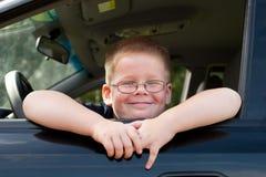 Programa piloto de coche del muchacho Fotografía de archivo libre de regalías