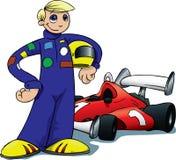 Programa piloto del muchacho delante del coche de competición Foto de archivo