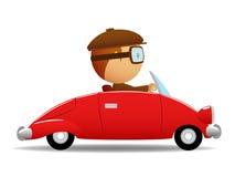 Programa piloto en el coche rojo stock de ilustración