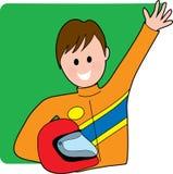 Programa piloto masculino del coche de carreras Imagen de archivo libre de regalías