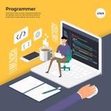 Programa plano de la codificación del programador del concepto de diseño El vector ilustra ilustración del vector