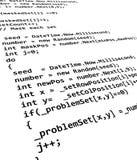 Programación del código fuente Fotos de archivo