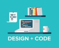 Programación web y diseño con el ejemplo retro del ordenador ilustración del vector
