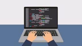 Programación y codificación Programador para el ordenador portátil mientras que trabaja libre illustration