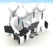 programador 3d e homem de negócios no fundo branco Imagens de Stock