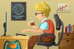 Programador de computador que trabalha em seu computador ilustração royalty free
