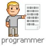 Programador de sorriso para programar o código Imagens de Stock