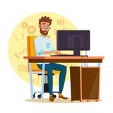 Programador Man Vector Promotor joven estilizado Persona stock de ilustración