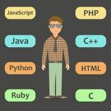 Programador que trabaja con lenguaje de programación moderno Foto de archivo libre de regalías