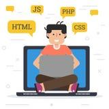 Programador que trabaja en el ordenador libre illustration