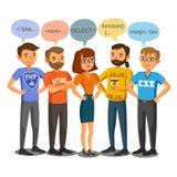 Programadores, colaboradores, processo que codifica, trabalhos de equipa Uma comunicação Foto de Stock Royalty Free