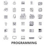 Programando, programador, código, ordenador, software, desarrollo, línea iconos del uso Movimientos Editable Diseño plano ilustración del vector