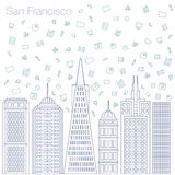 Programas de Internet de los iconos y establecimiento de una red social en la ciudad Foto de archivo