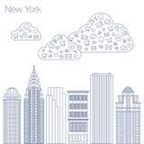Programas do Internet dos ícones e trabalhos em rede sociais na cidade Imagem de Stock