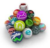 Programas móviles del software de aplicación de Apps en pirámide stock de ilustración