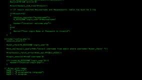 Programation del código del PHP que corre en la pantalla de ordenador con el fondo negro libre illustration
