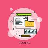 Programe a janela, o teclado, o lápis, a régua e o dobrador do código ilustração royalty free