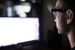 Programer face over white monitor Royalty Free Stock Images