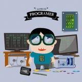 Programer kid character -  Royalty Free Stock Photography