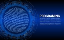 Programing Blue Tech Background. Banner vector illustration