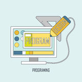 Programing concept in thin line style Royalty Free Stock Photography