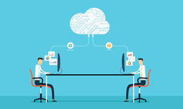 Programing connection develop web siet and application on cloud. People  Programing  working and connection to business on cloud technology Stock Photos