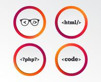 Programisty kodera szkła HTML marży język ilustracja wektor