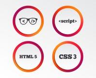 Programisty kodera szkła HTML marży język royalty ilustracja