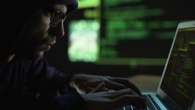 Programisty przychodu pieniądze online, tworzący sfałszowanego bankowości konto, sprzedawania oprogramowanie zdjęcie wideo