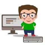 Programisty workspace programy rozwojowy Osoba pracuje na komputerze ilustracja wektor