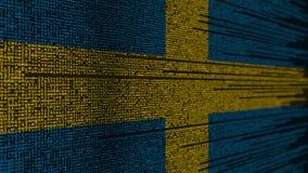 Programkod och flagga av Sverige Svensk digital teknologi eller programmera släkt loopable animering stock video