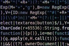Programkod på skärmen Arkivbild