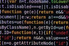 Programkod på skärmen Arkivfoton
