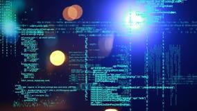 Programkoder och ljusa effekter för bokeh stock illustrationer