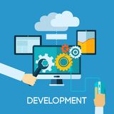Programm Development Flat Illustration. Programm development concept with flat human hand and computer icons vector illustration Stock Photos