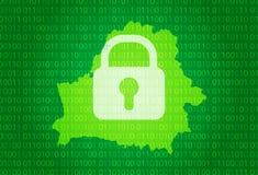 Programma del Belarus illustrazione con il fondo di codice binario e della serratura la didascalia di Internet, l'attacco del vir Immagini Stock