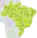 Programma del Brasile in un mosaico dei quadrati verdi Immagini Stock