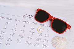 Programma del calendario di estate Fotografia Stock Libera da Diritti