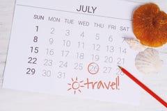 Programma del calendario di estate Fotografia Stock