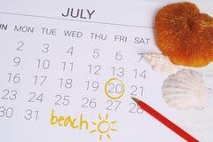 Programma del calendario di estate Immagini Stock