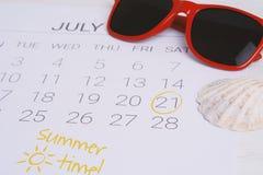 Programma del calendario di estate Fotografie Stock Libere da Diritti