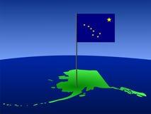 Programma dell'Alaska con la bandierina Fotografia Stock Libera da Diritti