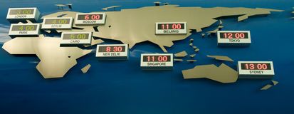 Programma della fascia oraria del mondo Immagine Stock