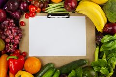 Programma di dieta con il concetto sano pulito dell'alimento fotografie stock libere da diritti